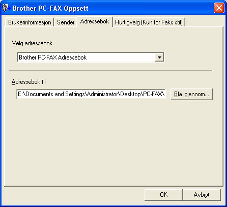 6. Brother PC-FAX-program (Ikke tilgjengelig for DCP-modeller) Adressebok 6 Hvis Outlook Express er installert på PC-en, kan du velge