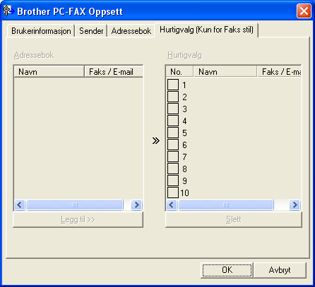 6. Brother PC-FAX-program (Ikke tilgjengelig for DCP-modeller) Oppsett for Hurtigvalg 6 I dialogboksen Brother PC-FAX Oppsett klikker du på fanen Hurtigvalg.