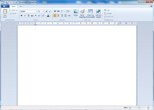 Wordpad Wordpad ser ulik ut om du har XP, Vista eller Windows 7.