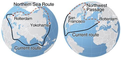 Arctic Shipping Route From Rotterdam to Yokohama: 7,136 nm via Northern Sea Route; 11,548 nm