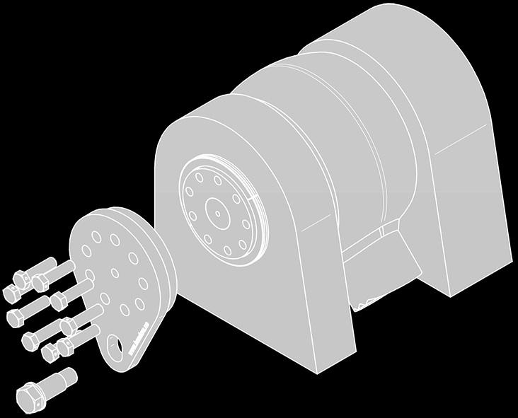 The jaws should be fixed to the flange on the conical sleeve. Connect the hydraulic pump and hose.