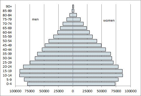 ENGLISH Pocket calculator allowed Question 1 (counts about 20 %) The graph shows Kosovo s population pyramid as of 1 April 2011. Kosovo s Crude Death Rate (CDR) was 4.1 per thousand in 2011.