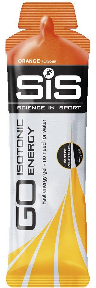 SiS GO ISOTONIC ENERGY GELS FEATURES 22g of carbohydrate per serving High GI energy source Patented formula BENEFITS Isotonic - readily absorbed Varsatile, no need for additional water Easy on the