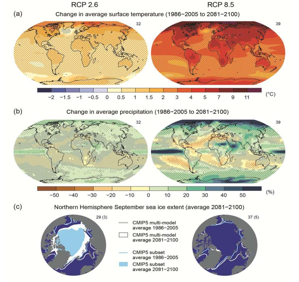 Temperature Larger warming over land and in the Arctic than globally Precipitation
