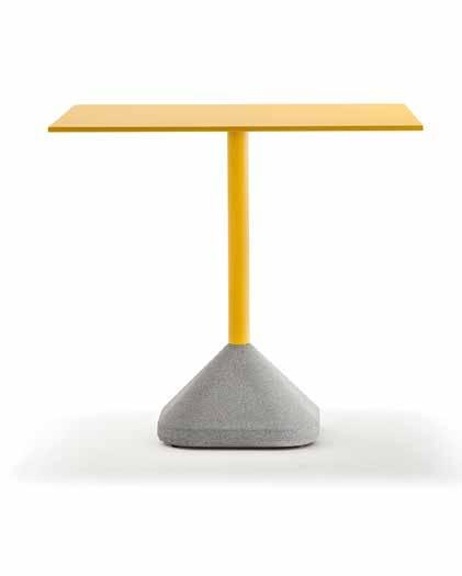 CONCRETE A table base must be durable and have a certain weight which makes it steady.