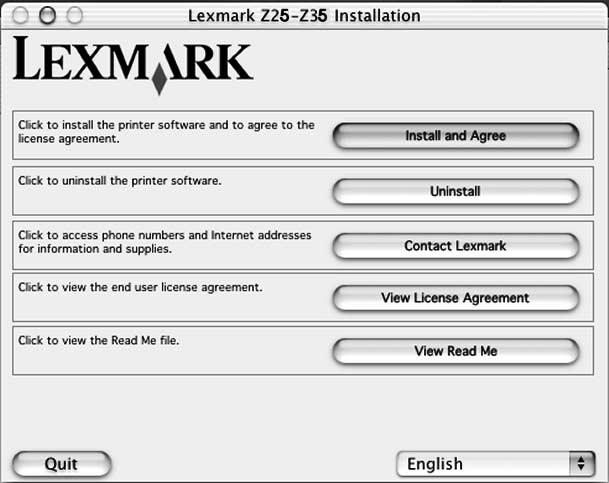 Mac OS X, versjon 10.0.3 til 10.1 Du kan se på side 8 for å installere skriverprogramvaren for Windows. Du kan se på side 12 for å installere skriverprogramvaren for Mac OS 8.6 til 9.2. Lukk alle åpne programmer.