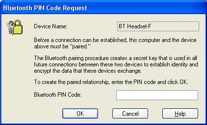 5 Klikk på boblen Bluetooth PIN Code Required (PIN-kode for Bluetooth må angis). 1. Oppgi PIN-koden for enheten. 2. Klikk på OK.