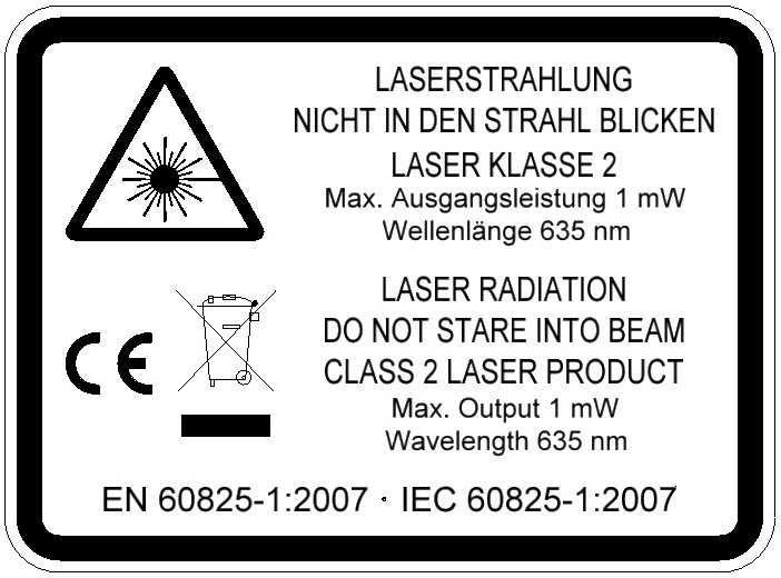Laserwarnschild für TPL Laser warning label for TPL