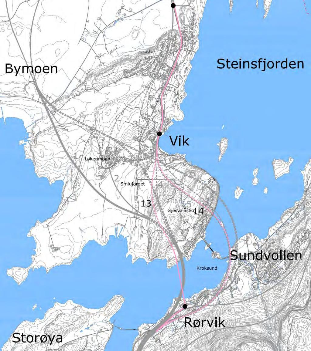 Rosa korridor Rørvik - Stein To alternativer (begge nye): Alternativ 13: Bru over Kroksund Alternativ 14: Undersjøisk tunnel