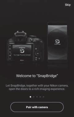 4 Smartenhet: Start SnapBridge-appen og trykk på Pair with camera (Par med kamera).