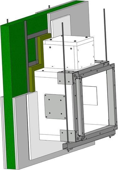 Fig. 0 Example of installation in solid ceiling construction of fire compartment - actuating mechanism above 6 Cover of actuating mechanism has to be removable after installation Position: Damper