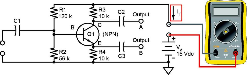 Disconnect the generator. What is the total dc circuit current (I T(no-signal) ) with no ac input signal?