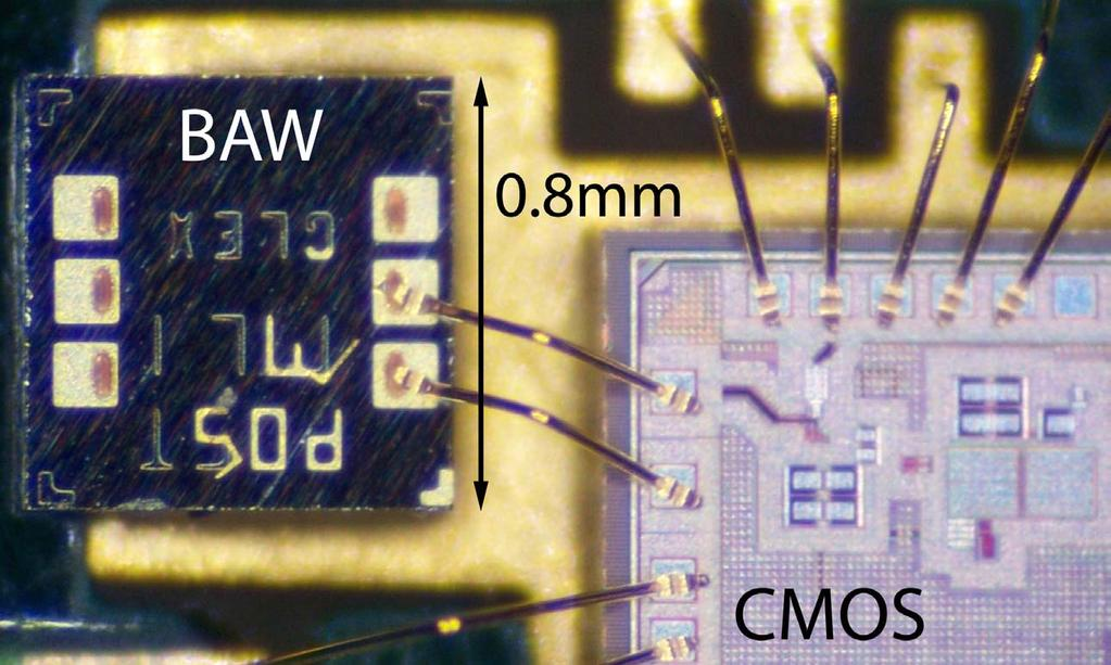 Silicon Prototype BAW wirebonded directly to CMOS for prototyping