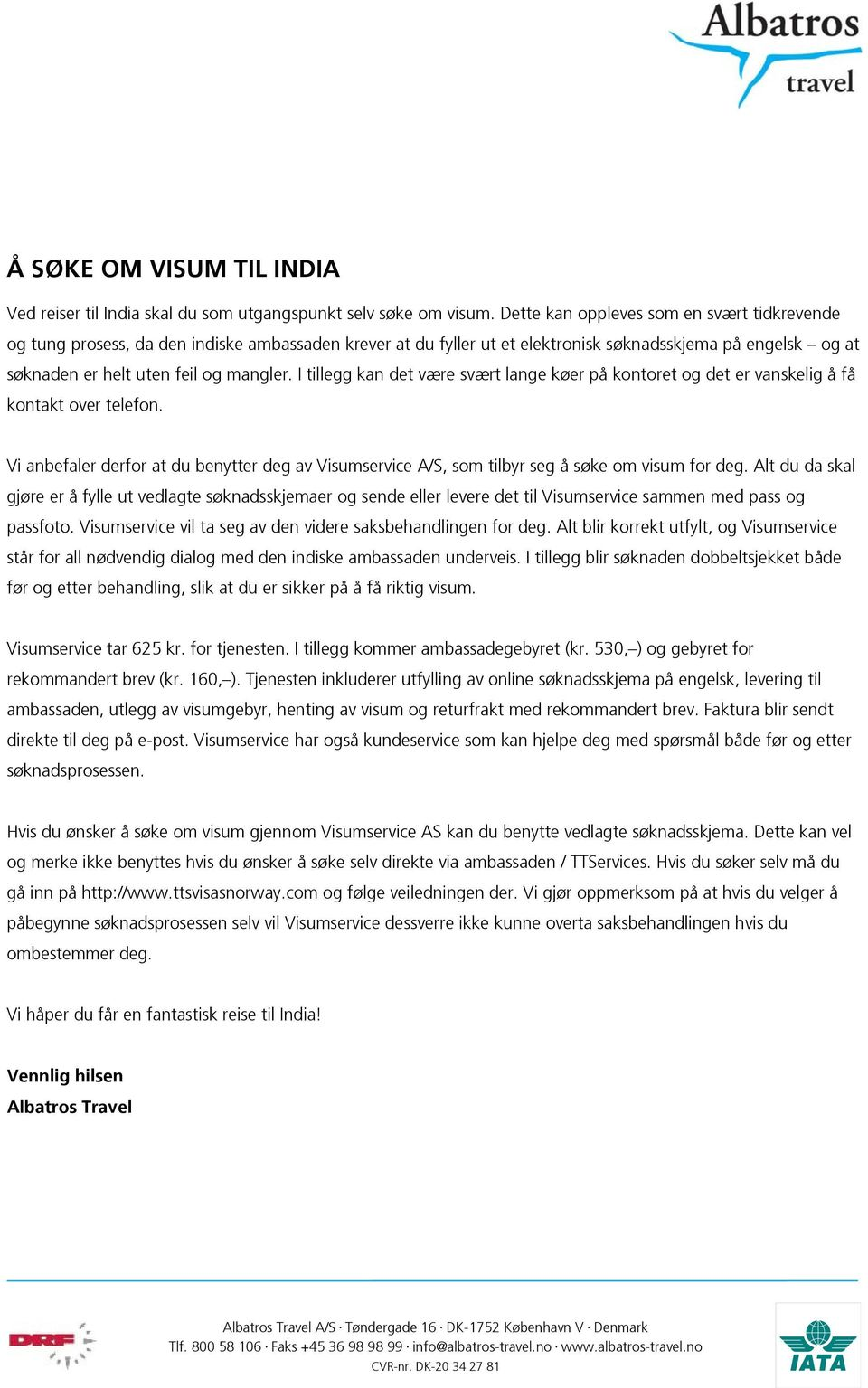 Søke Visum India