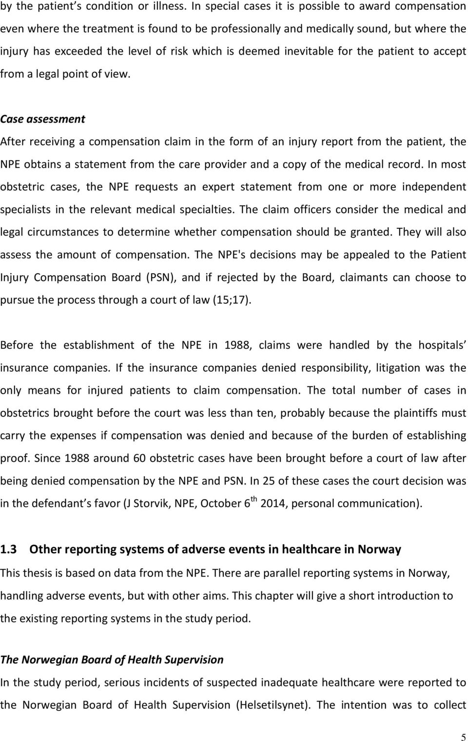 Claims for compensation after alleged birth injury in Norway