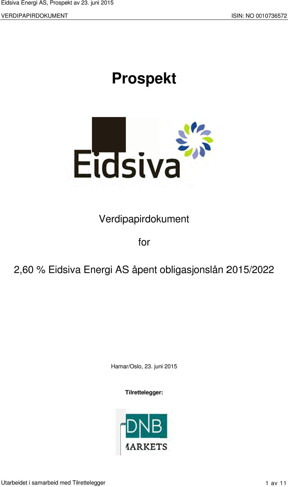 Verdipapirdokument for 2,60 % Eidsiva Energi AS åpent